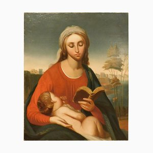 Antique Oil Painting on Canvas, Portrait of Madonna with Child, Italy, 1800s