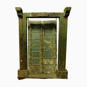 Antique Ethnic Style Entrance Door in Green Lacquered Wood, 1700s