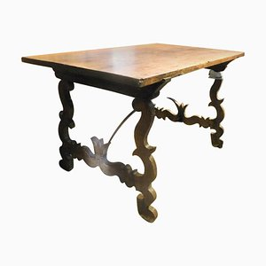 Antique Brown Walnut Table with Wavy Legs and Single Plank, Italy, 1700s