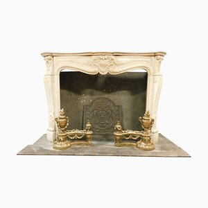 Antique Fireplace in White Carrara Marble with Carved Shells, France 1700s