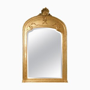 Antique Italian Mirror with Gilded Frame & Large Decorated Bezel