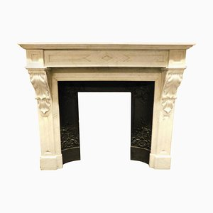Antique French Carved White Carrara Marble Fireplace Mantel