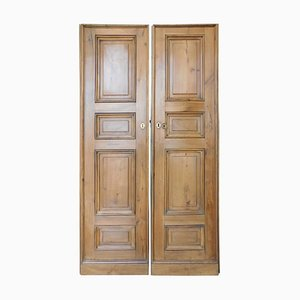Antique Italian Double Walnut Doors with Panels Carved