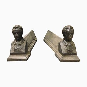 Antique Italian Black Cast Iron Man Figure Wings, Set of 2
