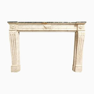 18th Century France Louis XVI Fireplace in White and Green Marble
