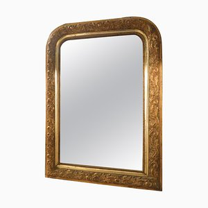 Antique Golden Mirror with Carved Frame & Embossed Floral Motifs, France, 1800s