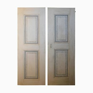 Antique 2-Panel Lacquered Doors in White and Gray, Italy, Set of 2