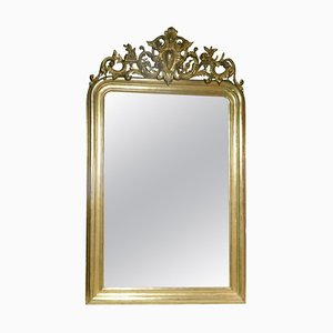19th Century French Mirror with Carved and Gilded Rib, Leaves & Frames