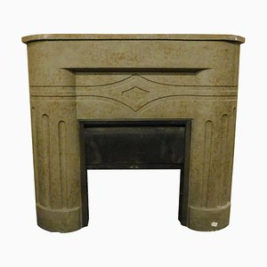 Vintage Art Deco Marble Mantle Fireplace in Dove Gray Color, Italy, 1920s