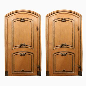 Antique Orange Lacquered Wooden Doors with Silver Moldings, Italy, 1600s, Set of 2