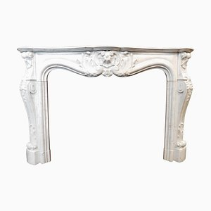 Antique French Louis XV Fireplace with Richly Carved White Marble, Paris, 1700s
