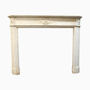 Antique Louis XVI White Marble Fireplace with Carved Flowers & Side Moons, France, 1800s