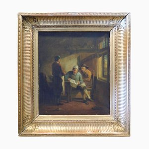 Antique Oil on Canvas People Painting with Gilded Coeval Frame, Italy, 1800s