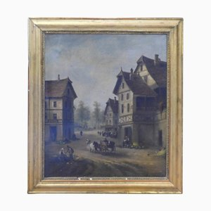 Antique Oil on Canvas Landscape Painting with Gilded Coeval Frame, Italy, 1800s