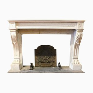 Antique Empire Style Fireplace in White Carrara Marble with Lion Paws, France, 1800s