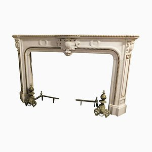 Antique White Marble Mantle Fireplace with Brass Profiles, Italy, 1878