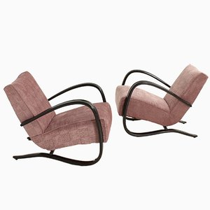 Lounge Chairs by Jindrich Halabala for Thonet, Set of 2