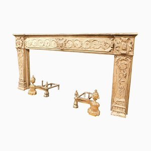 Antique Fireplace Mantel in Beige Lacquered and Carved Wood, Italy, 1700s