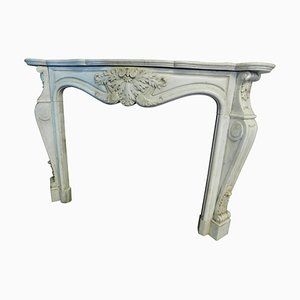 18th Century French White Marble Fireplace Richly Carved & Wavy Legs