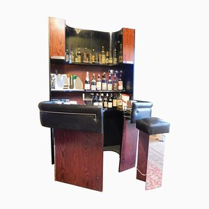 Vintage Modern Bar Cabinet with Counter and Stool Set, Italy, 1980s