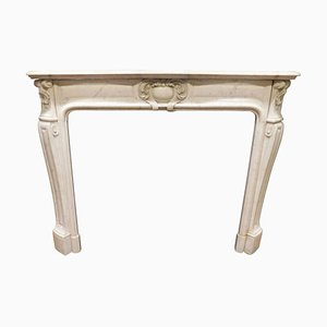 19th Century Italian White Carrara Marble Fireplace Mantel