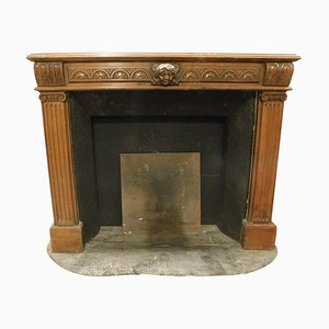 19th Century Italian Wooden Fireplace Mantel Carved with Satyr & Columns