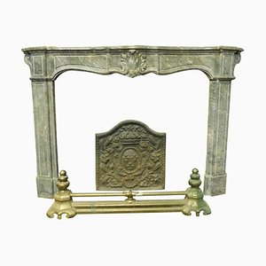 18th Century Italian Bardiglio Gray Marble Fireplace Mantel with Shells