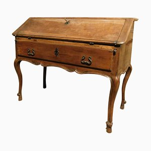 Antique Wooden Walnut Flap Desk with Drawers, Italy, 1700s