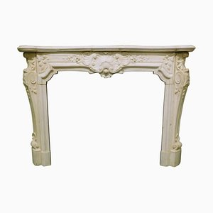 Antique White Statuary Carrara Marble & Richly Carved Fireplace, Italy, 1800s