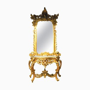 Antique Italian Rich Gilded Wooden Console Mirror, Naples, 1800s