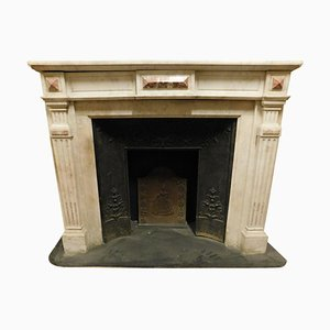Antique Louis XVI Fireplace in White Marble with Pink Inlays, France, 1800s