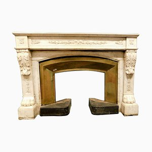 Antique Louis XVI White Marble Fireplace with Original Brass Counter-Heart, 1700s