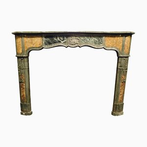 Antique Fireplace in Inlaid Gray, Black and Yellow Marble Shell, Italy, 1700s