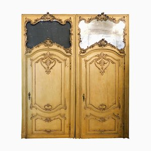 Antiques Baroque Doors in Lacquered and Gilded Yellow, Italy, 1700s, Set of 2