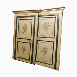 Antique Lacquered Doors with Frame & Green Beige Background Flowers, Italy, 1700s, Set of 2