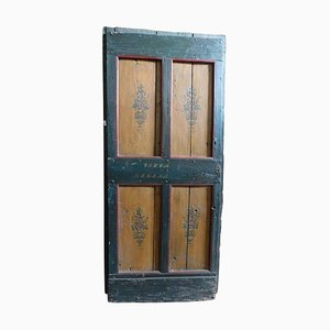 Antique Rustic Lacquered Interior Door in Green, Red & Yellow, Italy, 1700s