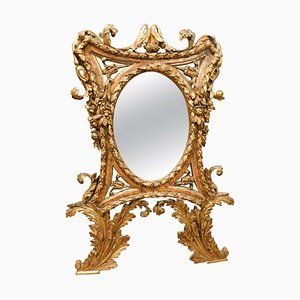 18th Century Italian Rich Golden Mirror with Leaves