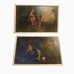 Antique Oil on Canvas Paintings with Sacred Images, Italy, Set of 2