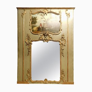 18th Century French Louis XVI Mirror in Green and Gold with Painting