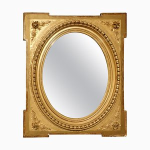 19th Century Italian Golden Mirror with Flowers