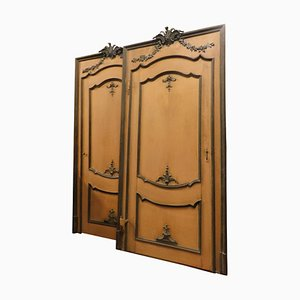 Antique Orange Lacquered Door with Hand-Carved Wooden Tinsel, Italy 1700s