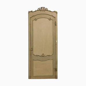 Antique Italian Gray Arched and Lacquered Door with Carved Shells