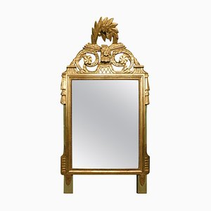 Antique Golden Mirror in Wood with Floral Carved Decorations, Italy, 1800s