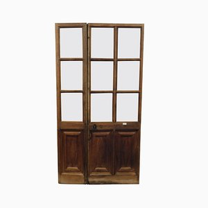 Antique Italian Asymmetrical Glass & Walnut Door with Wings & Carved Lozenges