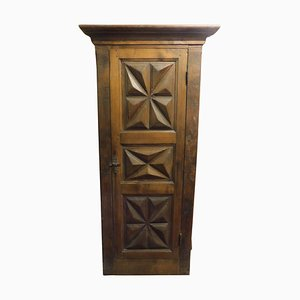 Antique Diamond Carved Wall Cupboard Door in Walnut with Frame, Italy, 1700s
