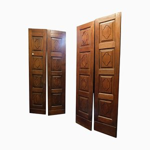 Antique Double Wing Wood Doors with Carved Front and Behind, Italy, 1700s, Set of 2