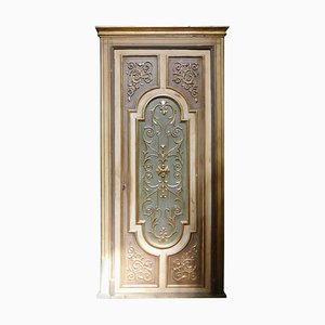 Italian Door in Gilded and Lacquered Wood with Frame, 1940s