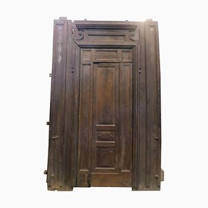 Large Door in Brown Walnut Wood, Italy, 1800s