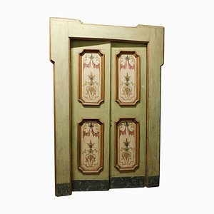 Antique Double Door Painted on a Green Background, Italy, 1700s