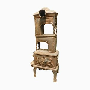 Antique Stove in Cast Iron with Wood-Burning & Cherubs Decor, 1800s